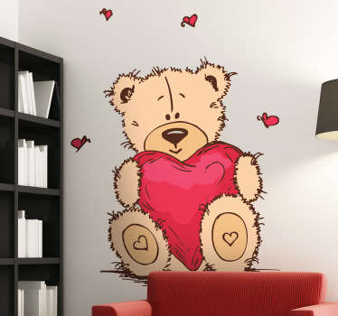 Sticker kinderkamer knuffelbeer met hartje