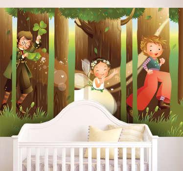 Sticker kinderkamer magisch bos kinderen