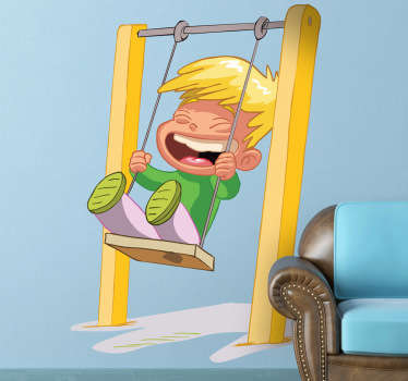 Lachender Junge auf Schaukel Aufkleber