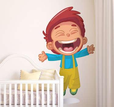 Sticker kinderkamer jongen springen en lachen