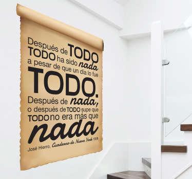Poema íntegro sobre papel antiguo y atractivo diseño en pegatina de un trabajo del famoso escritor madrileño.