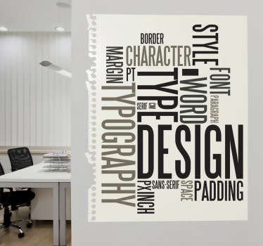 A great vinyl decal illustrating keywords related with typography! Decorate your office with this unique wall sticker.