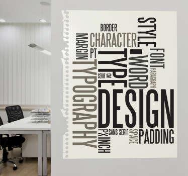精美的乙烯基贴花,说明与版式相关的关键字!用这个独特的墙贴装饰您的办公室。