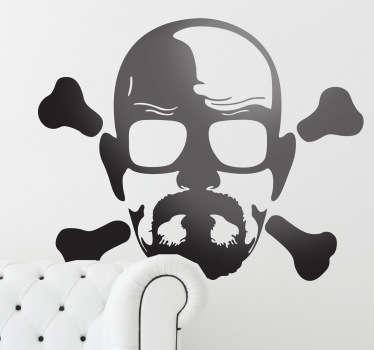Espectacular adhesivo con un retrato del protagonista principal de la serie Breaking Bad en plan bandera pirata.