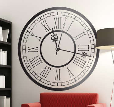 A decorative wall sticker of a classic clock with roman numerals! Vintage wall sticker showing the design of a giant train station clock to give any room in your home a classic feel to it, perfect for your living room, dining room or bedroom.