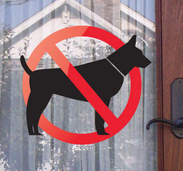 A very useful sign sticker that will let everyone know that dogs are not allowed in your store or home. Decorate any smooth surface such as the windows of your store. Easy to apply and leaves no residue upon removal, even on windows!