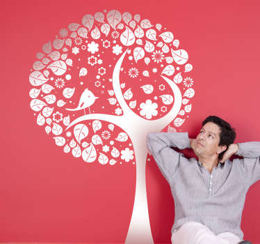 Vinilo decorativo árbol frondoso y ave