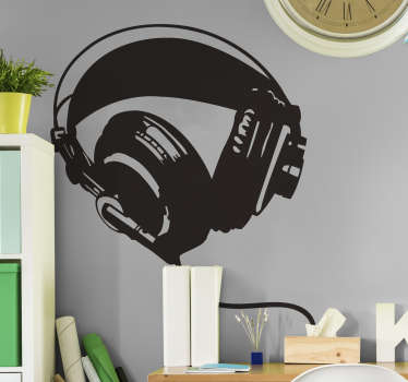 A monochrome stencil design of a pair of headphones from our collection of graffiti wall stickers to give your home a new appearance.