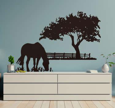 Sticker mural cheval dans le pré