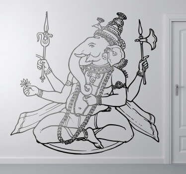 An elephant wall sticker which is not just a simple elephant but a Hindu God called Ganesha. A fantastic decal to decorate your walls.