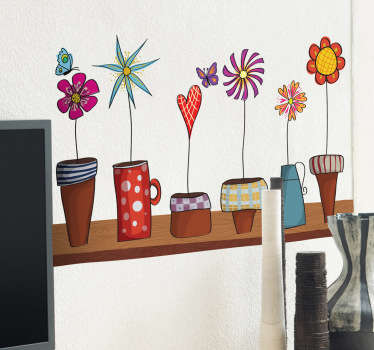 A collection of flower pots on a shelf. Brilliant flower wall stickers to decorate those empty spaces at home or in your office.