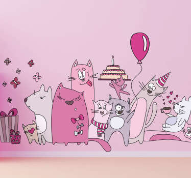 Kids Wall Stickers - Playful and fun illustration of a group of cats celebrating a birthday. Ideal for decorating areas for children and events.