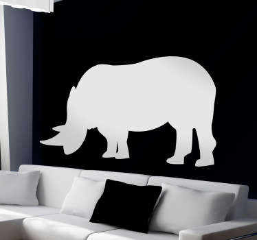Wall Stickers  - Silhouette design of an Rhino. Distinctive and ideal for decorating any space. Select a size and colour.