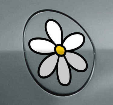 A sticker with six white flower petals that you see on many cars in your city. Brilliant decal from our collection of daisy wall stickers.