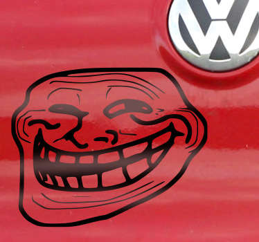A decorative sticker of the famous troll face that appears everywhere in social media networks such as Facebook and Instagram.