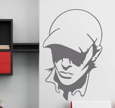 Een decoratiesticker om uw muur mee te versieren. Dit silhouet van een jongen met een pet een donker afgebeelde ogen