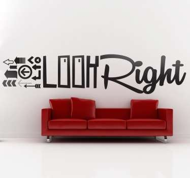 Look Right Wall Text Sticker