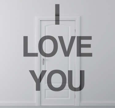 Sticker décoratif texte I love you