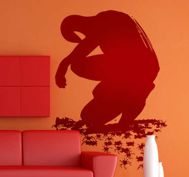 Vinilo decorativo silueta hombre araña