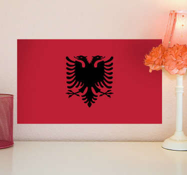 Vægklistermærker - albaniens flag vægmaleri. Fås i forskellige størrelser. Mærkater og klistermærker i høj kvalitet til fantastiske priser.