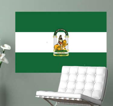 Pegatina adhesiva en acabado mate formada por el diseño de la bandera de la Comunidad Autónoma de Andalucía. +50 Colores Disponibles.