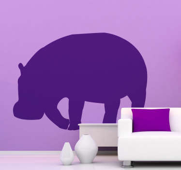 Wall Stickers  - Silhouette design of a Hippo. Distinctive and ideal for decorating any space. Select a size and colour.