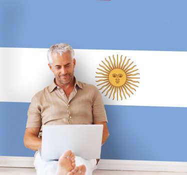 Dekorativní vinylový obtisk ilustrující vlajku jihoamerické země s jejím hlavním městem buenos aires, argentina.