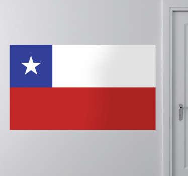 Dekaler - vægmaleri af det chilenske flag, også kendt som la estrella solitaria - den ensomme stjerne. Fås i forskellige størrelser.