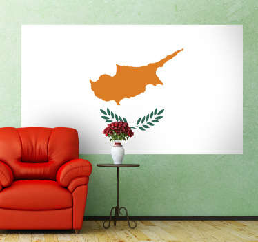 Decals - Mural of the flag of Cyprus. The state flag that features a map of the island, with two olive branches as a symbol of peace