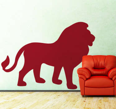 Silhouette wall sticker of a Lion. Distinctive and ideal for decorating any space, be it your walls, doors, laptop and more. Select a size and colour that fits best and create a majestic atmosphere in your home.