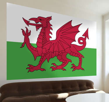 High quality Wales flag wall sticker. Perfect as living room or bedroom décor to show off your pride for the great nation.