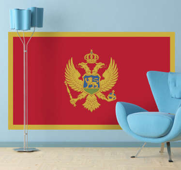 Decals - The Montenegrin flag. Montenegro a sovereign state in Southeastern Europe. Ideal for homes or businesses.