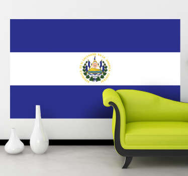 Naklejka na ścianę z flagą Salwadoru. Umieść dekorację w pomieszczeniach domowych lub biznesowych. Wyprzedaż się kończy, zamów taniej teraz!