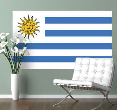 Decals - The Uruguayan flag. The Eastern Republic of Uruguay, located in South America. Ideal for homes or businesses.