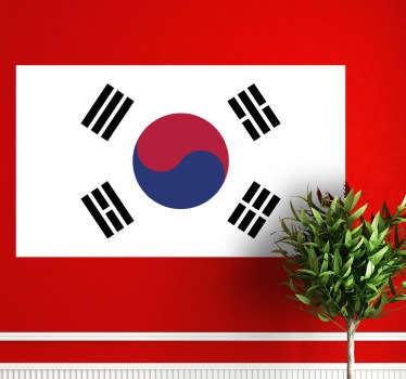 Naklejka na ścianę z flagą Korei Południowej. Umieść dekorację w pomieszczeniach domowych lub biznesowych.