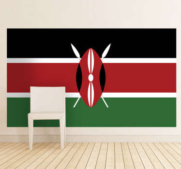 Decals - The Keyan flag. The Republic of Kenya, located in East Africa. Ideal for homes or businesses.