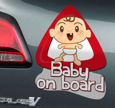 Baby on Board car sticker to show the drivers around you that you have a child riding in the car with you and they should be even more careful. This fun wall sticker is practical and clear as well as eye-catching and visually appealing.