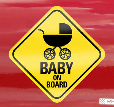 A brilliant car sticker illustrating a 'baby on board' sign to let other drivers know that you are travelling with a little kid.