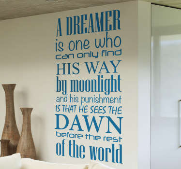 Vinil decorativo dreamer Oscar Wilde