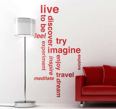 A text wall sticker collection of words to succeed and to overcome everyday challenges, from our collection of motivational wall decals. Brilliant motivational sticker for your office or living room.