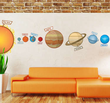 Colourful space wall sticker showing the planets of the solar system and our sun. Personalise your child's bedroom with this educational wall sticker.