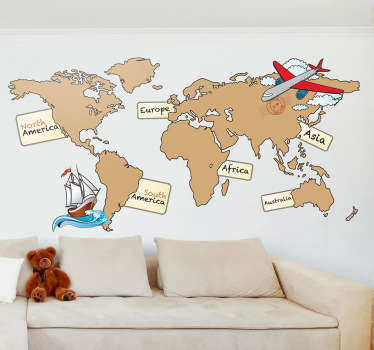 Sticker wereldkaart continenten engels