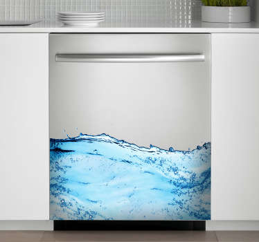 Modrá nálepka na mytí nádobí na mořských vlnách