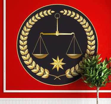 Are you a lawyer or work in a law related environment? If yes, then this scales wall sticker is perfect for the walls of your office. Brilliant legal scale decal with a golden colour and black background to personalise your workplace!