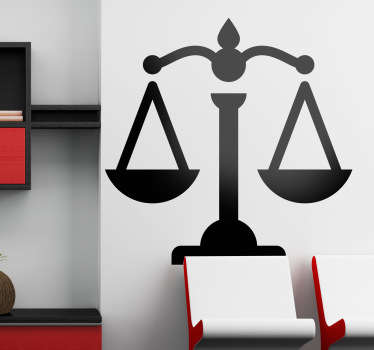 An office wall sticker illustrating a scale as a representation of justice. The justice silhouette decal is a great decoration for your office or work space!