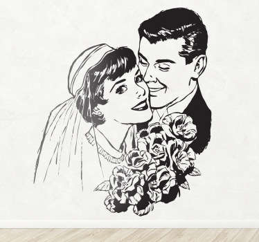 Make your nuptials even more special with this spectacular sticker of a newly wed couple with a vintage look.