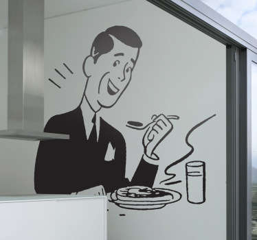 Sticker illustrating a man in the 50s enjoying his meal. Fantastic decal to give your kitchen the decoration it needs.