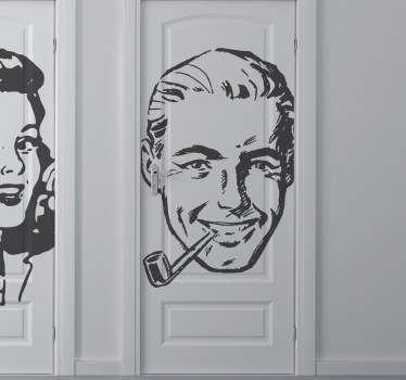 Autocolante de parede cara de homem vintage