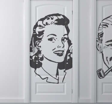 A superb vintage wall sticker illustrating a young lady from the 40s. A classic decal to show where the ladies room is.
