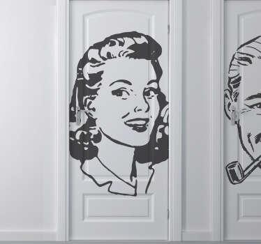 Vintage kvinna klistermärke